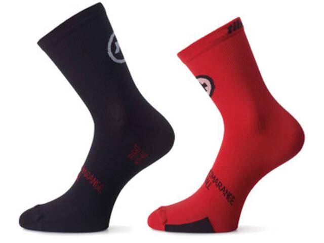 assos tiburuSocks_Evo8 sukat Twin Pack , punainen/musta